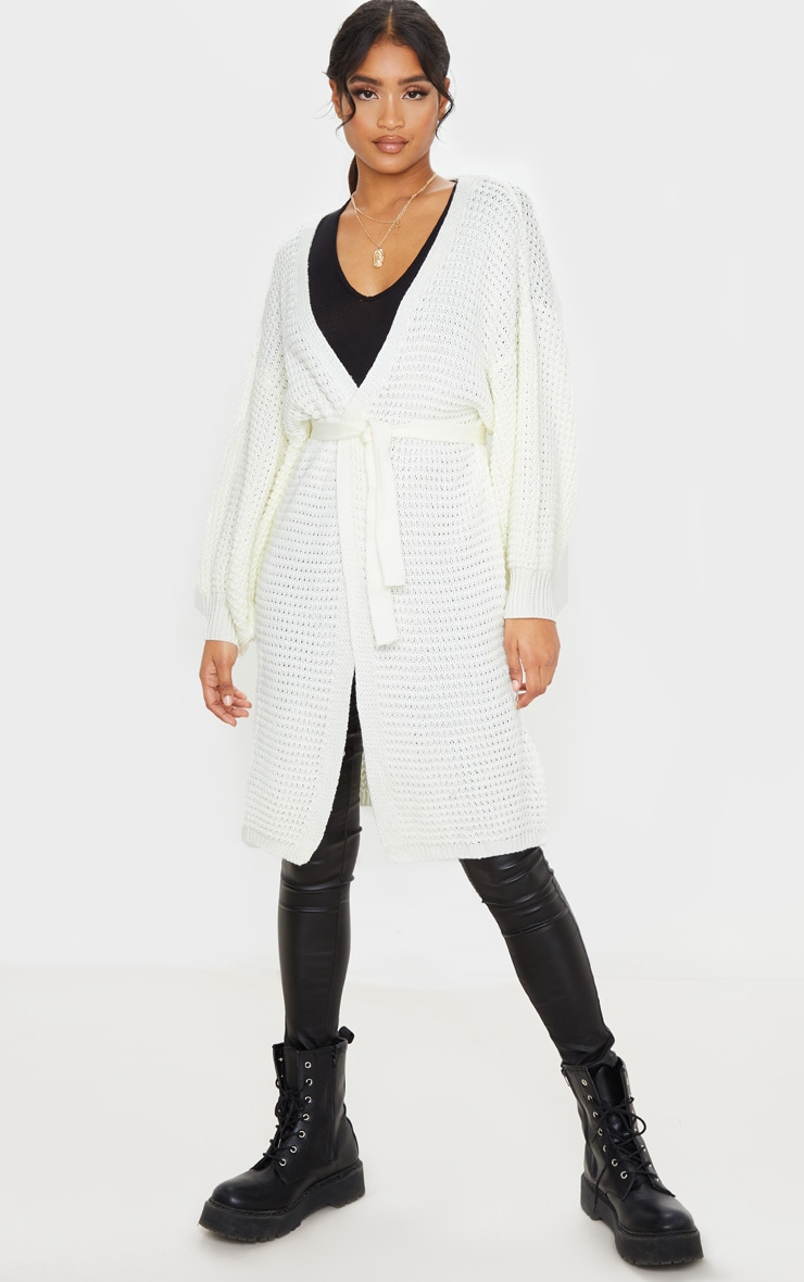 Cream Knitted Longline Belted Cardigan 1