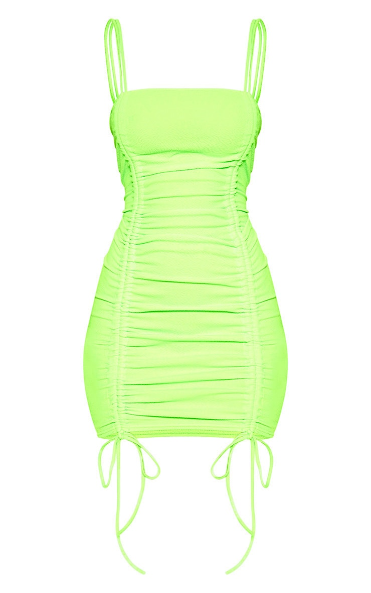 Neon Lime Ruched Front Strappy Bodycon Dress 3