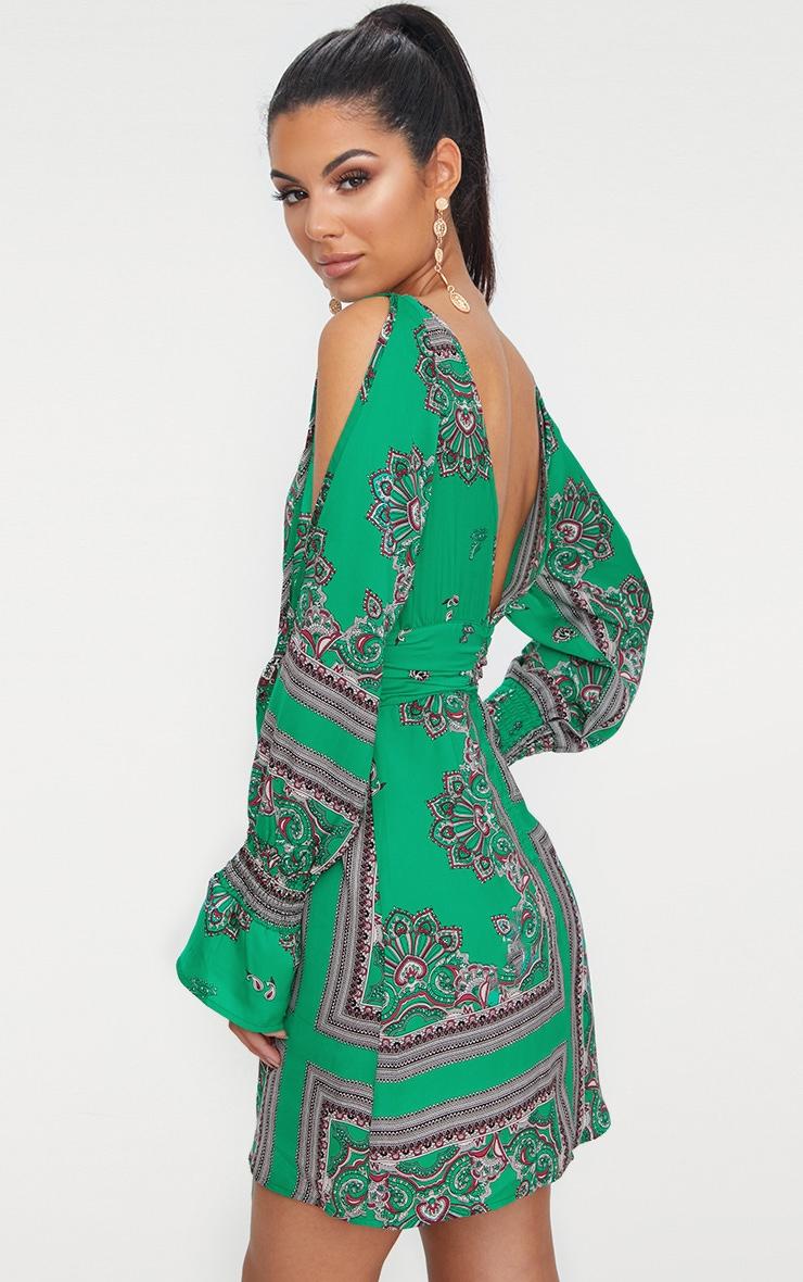 Green Satin Cold Shoulder Plunge Bell Cuff Bodycon Dress 2
