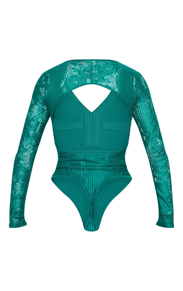 Emerald Lace Open Back Thong Bodysuit 4