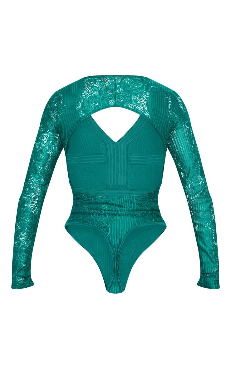 Emerald Lace Open Back Thong Bodysuit 4