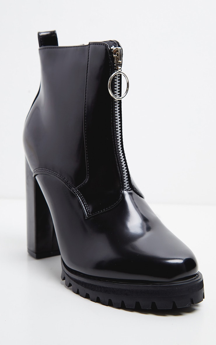 Black Zip Front Platform Boot 4