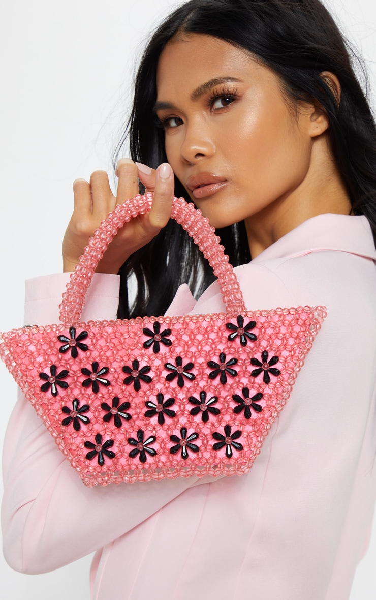 Pink Beaded Mini Bag With Black Flowers 1