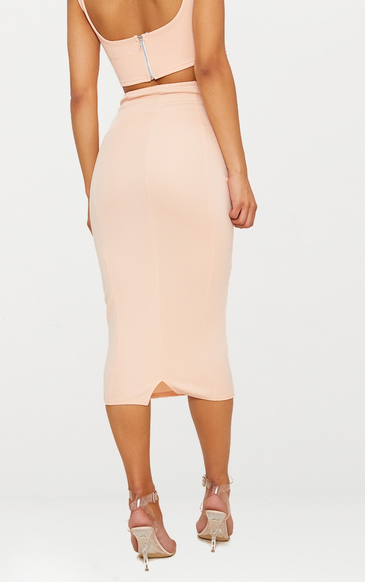 Blush Super High Waisted Midi Skirt  4