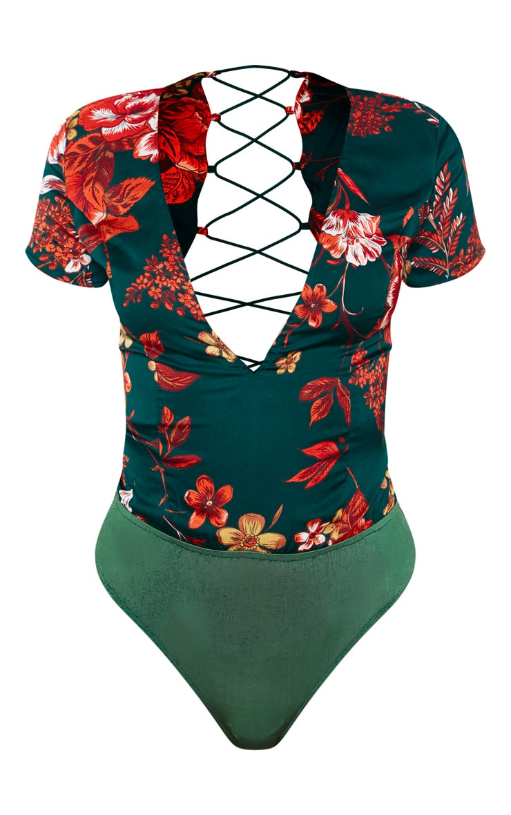 Emerald Green Floral Print Criss Cross Back Bodysuit 3
