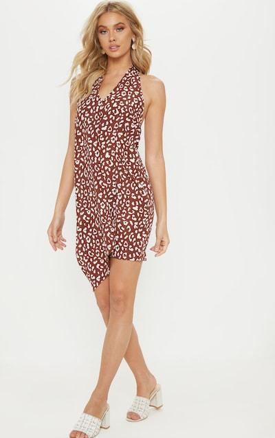 Brown Leopard Print Halterneck Swing Dress