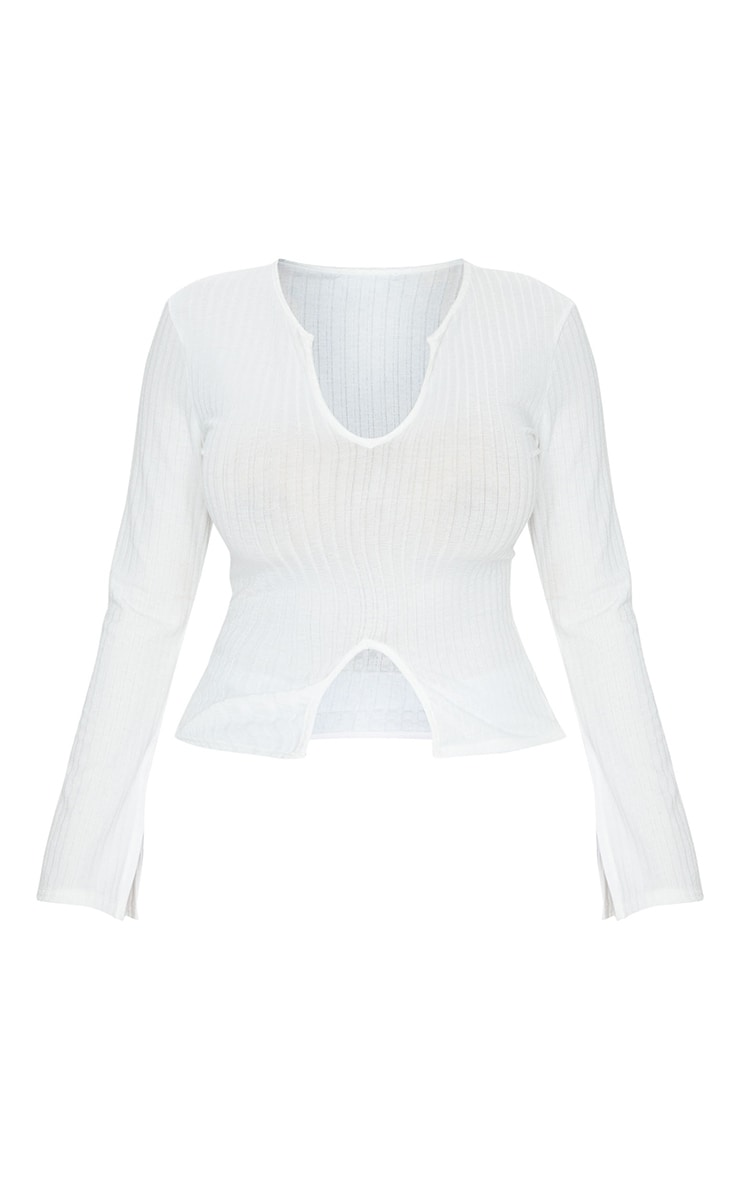 Shape White Rib Long Sleeve Split Detail Top 5