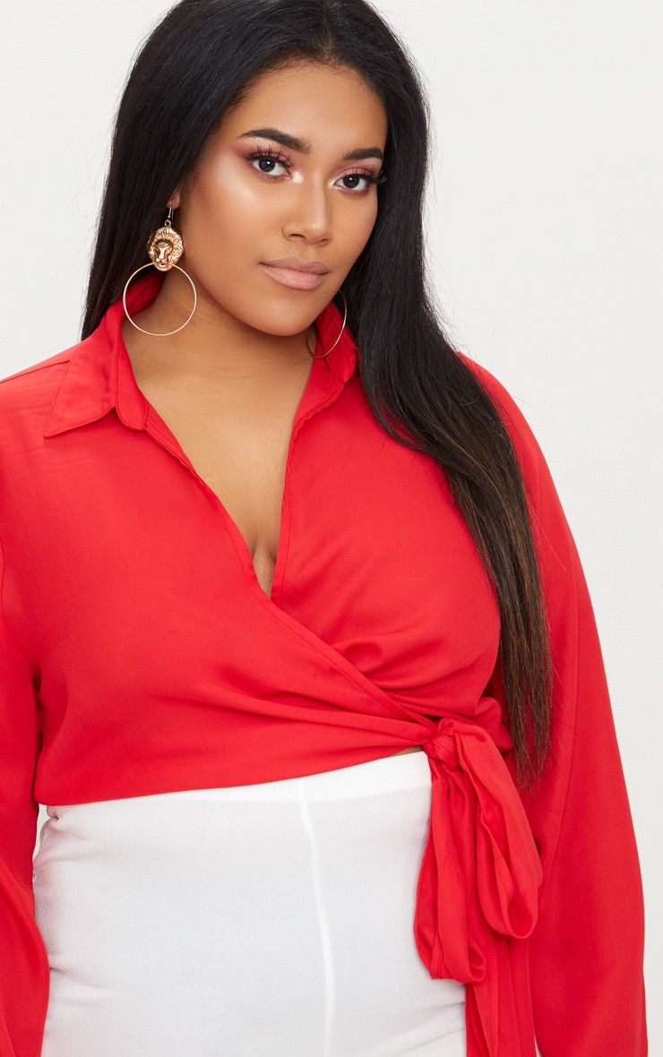 Plus Red Wrap Front Tie Side Top 5