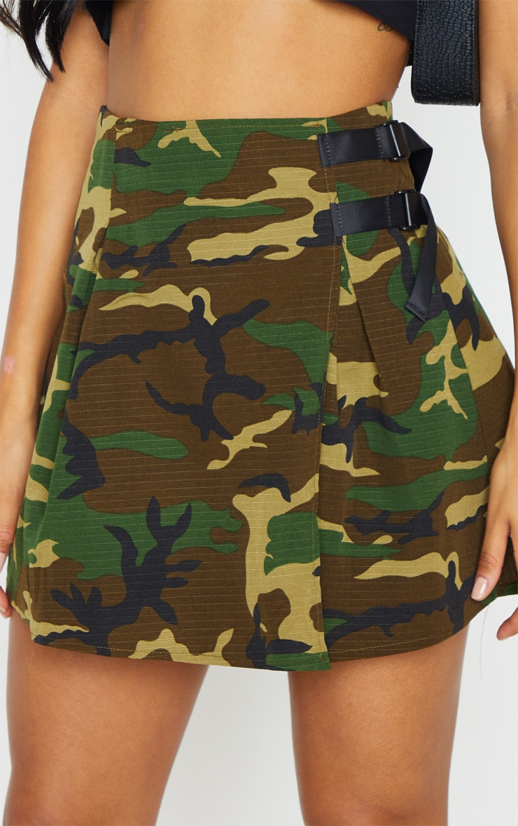 Khaki Camo Buckle Detail Tennis Skirt 6