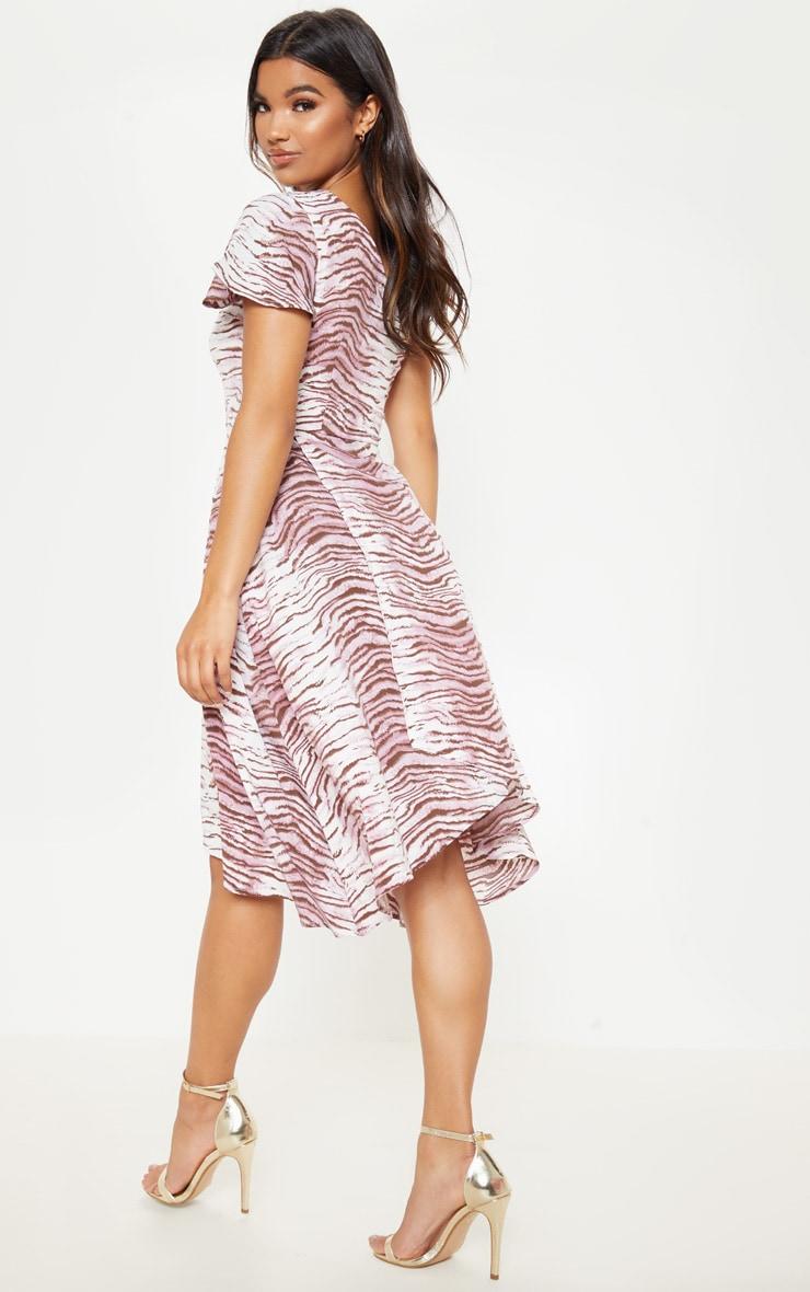 Lilac Animal Print Ruffle One Shoulder Midi Dress 2