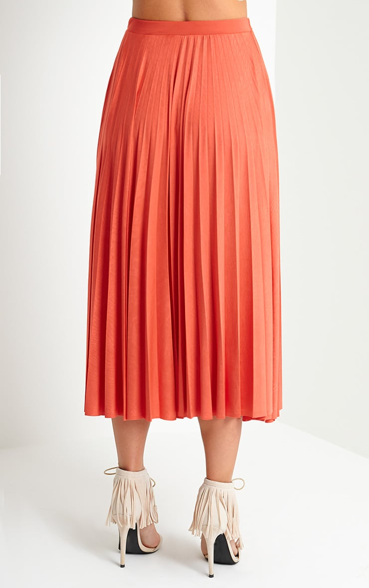 Chelsey Orange Pleated Skirt 4