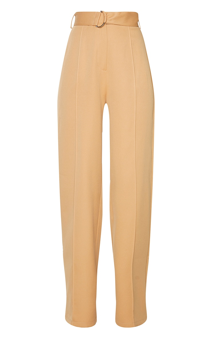 Camel D Ring Woven Belted Straight Leg Pants 5