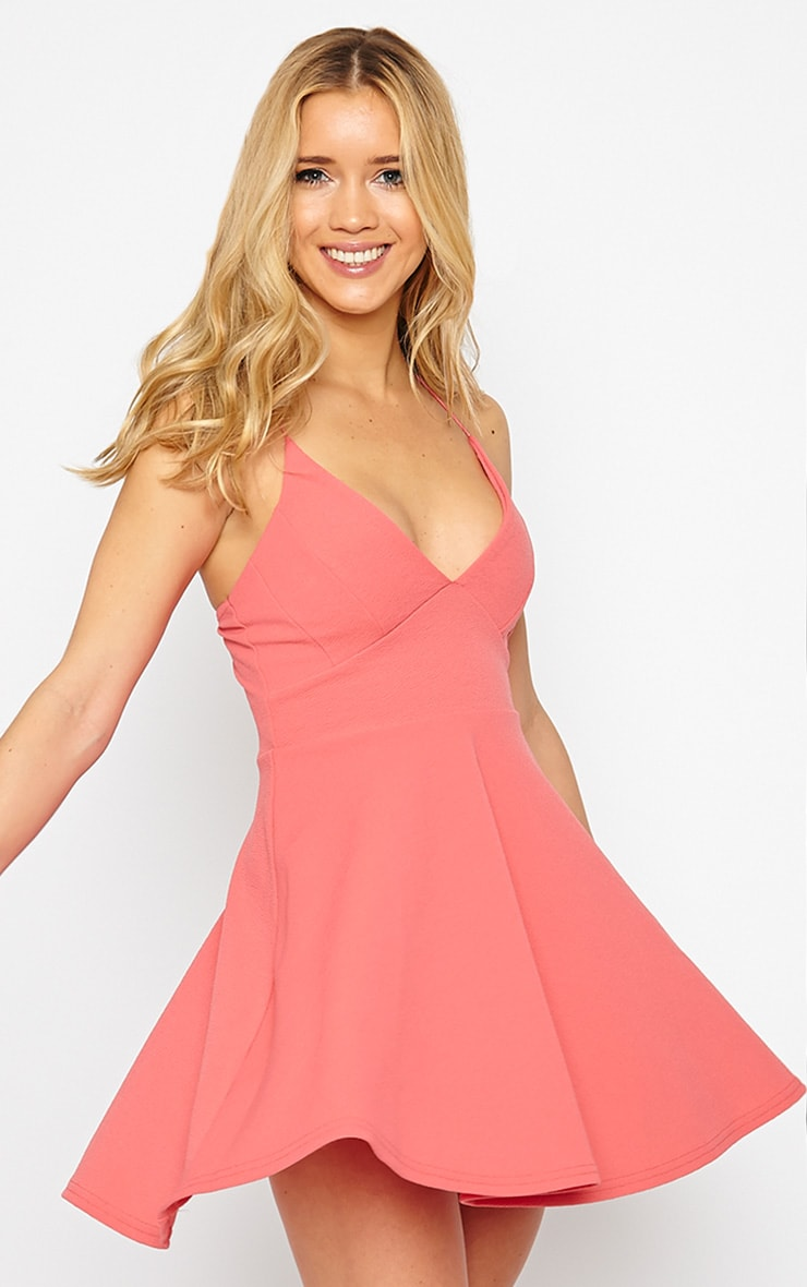Luccie Coral Crepe Skater Dress 1