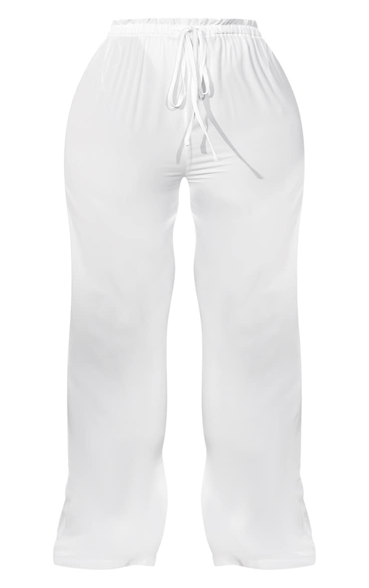 Plus White Tie Waist Beach Pants 5