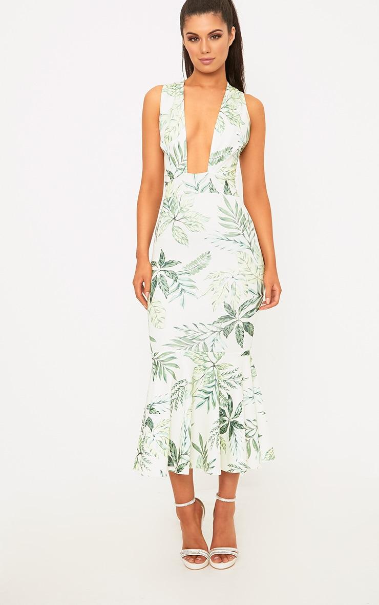 Green Palm Print Plunge Fishtail Midi Dress 4