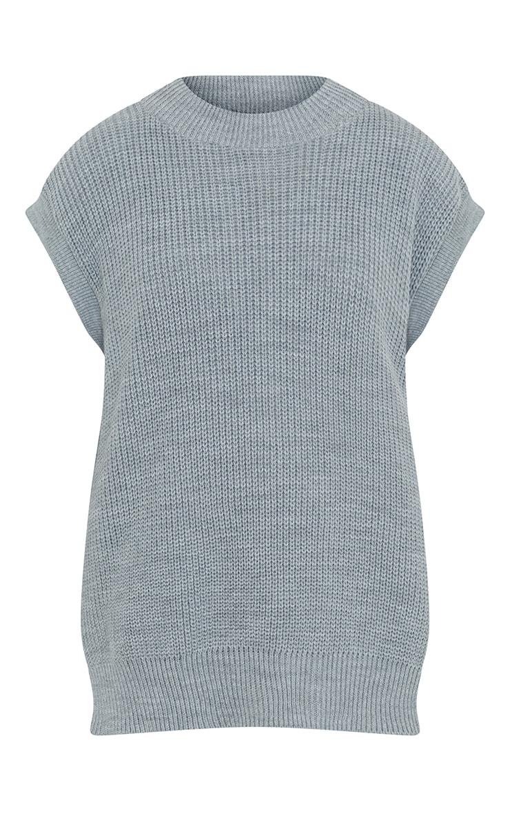 Grey Round Neck Side Split Knitted Vest 5