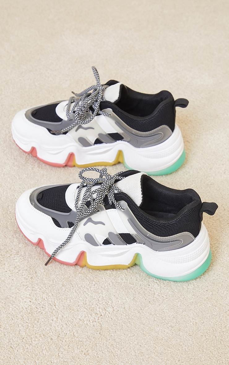 Black Chunky Multi Wave Sole Trainers 3