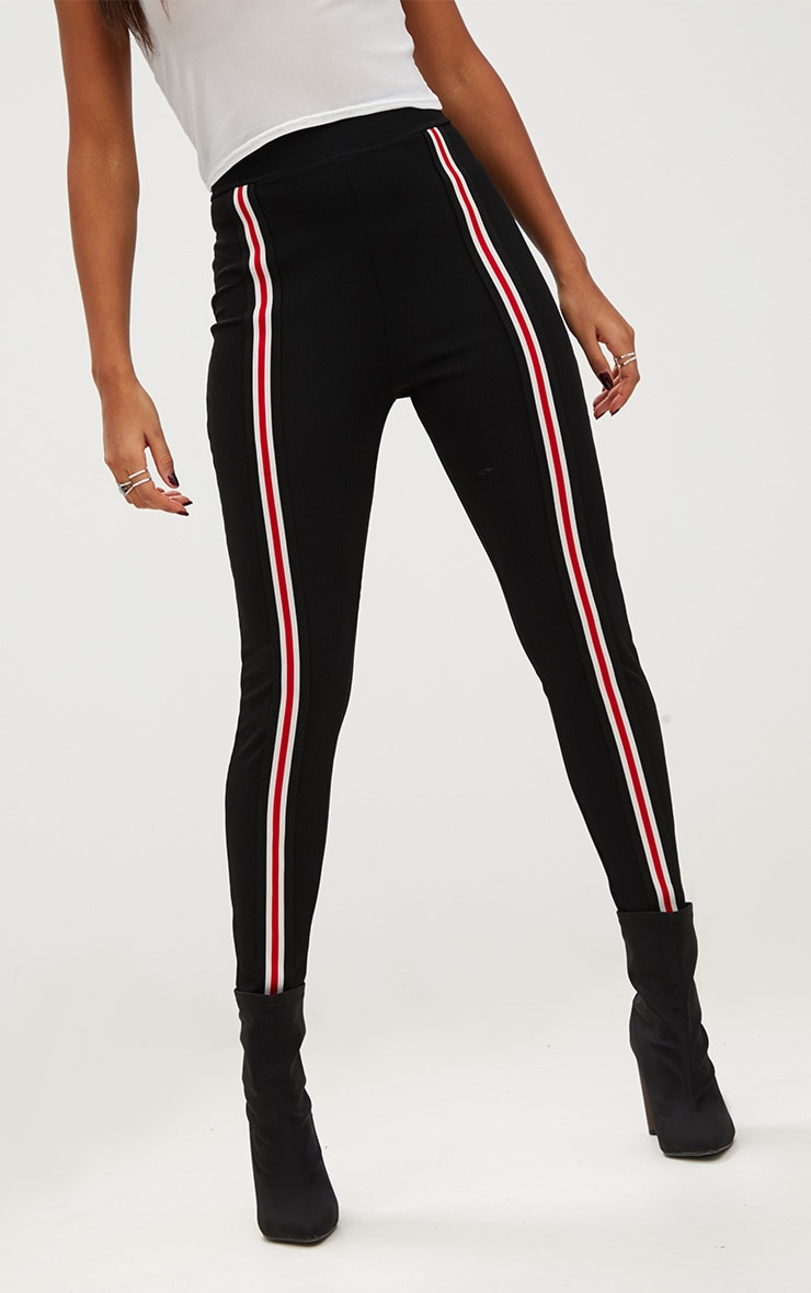 Black Track Stripe Fitted Jogger 5