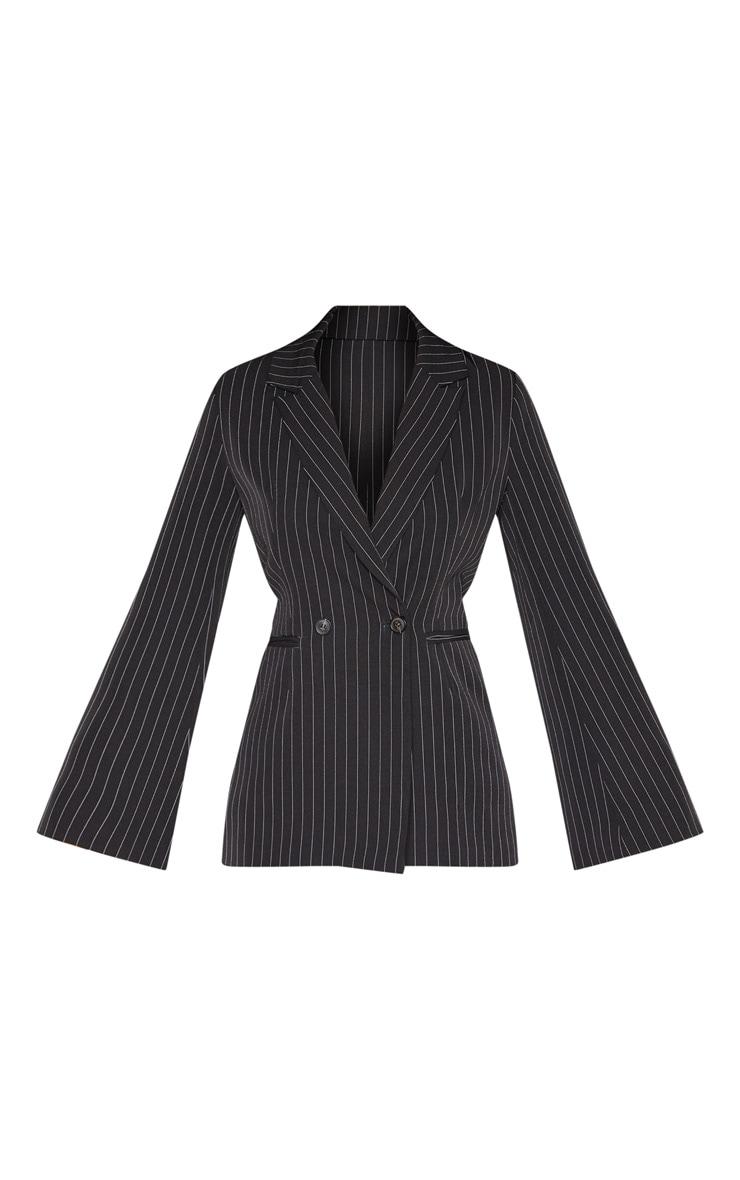 Black Pinstripe Longline Oversized Woven Blazer    3