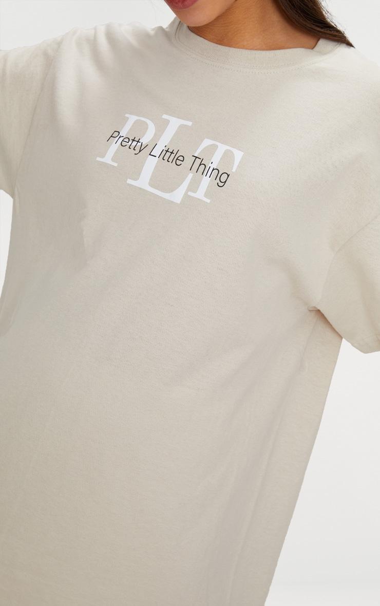 PRETTYLITTLETHING Sand Oversized Slogan T Shirt 4