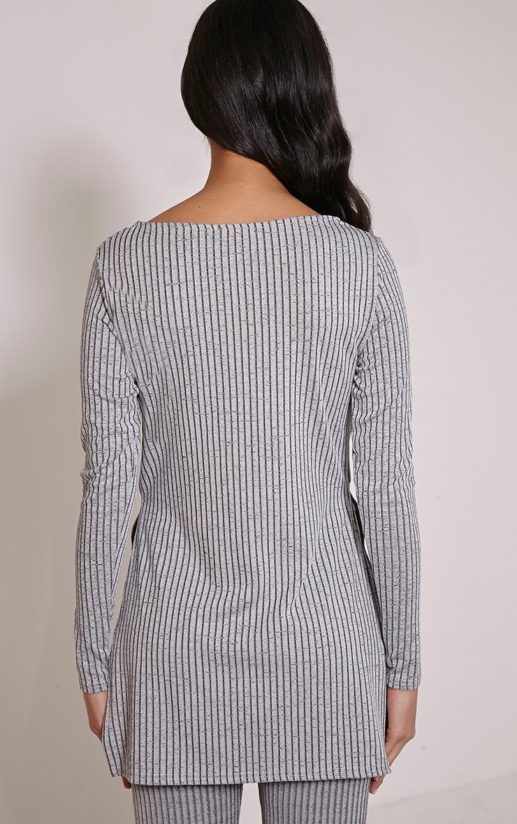 Anna Grey Ribbed Long Sleeve Side Split Top 2