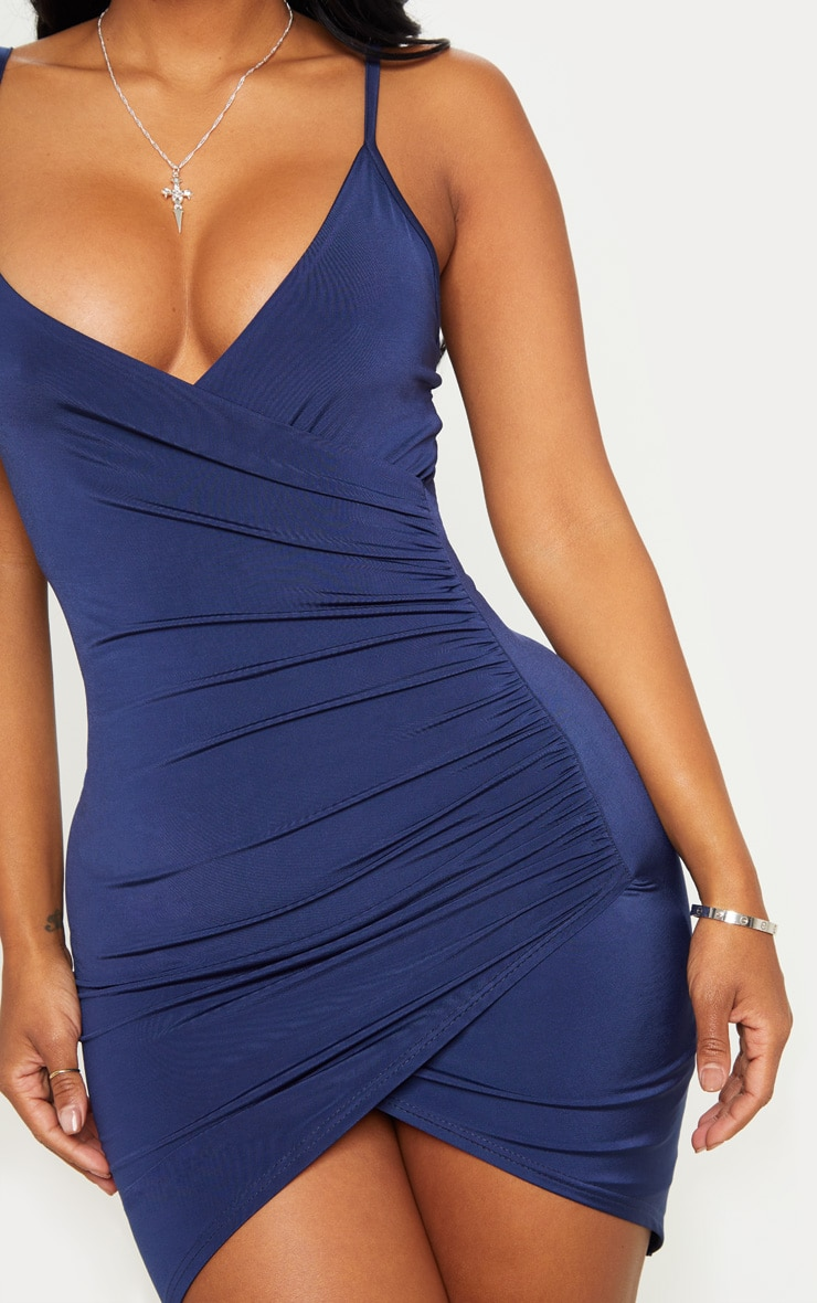 Shape Navy Ruched Side Strappy Bodycon Dress 5