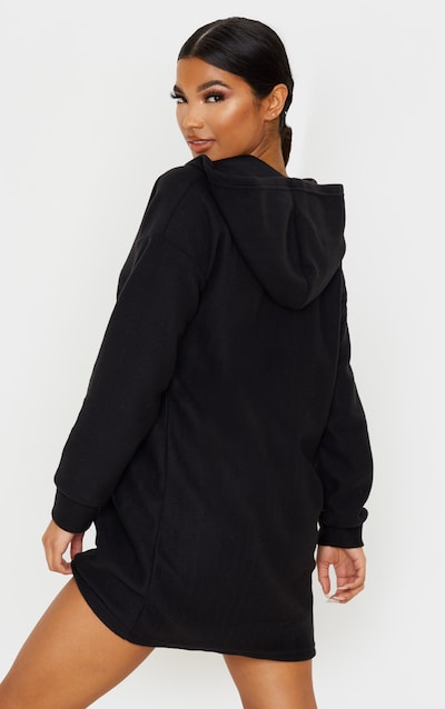 Black Fleece V Neck Hoodie Jumper Dress