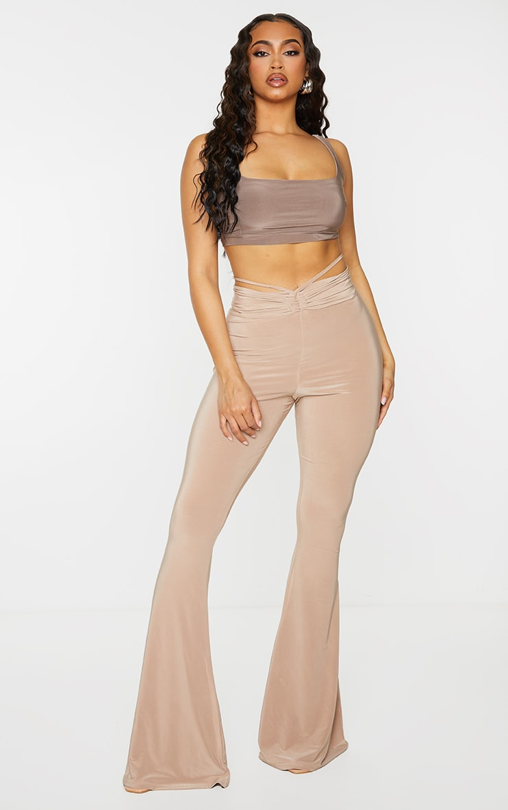 Stone Slinky Ruched Waist Flared Pants