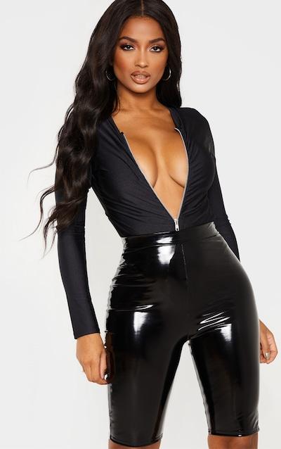 794a1469c07ca Shape Black Slinky Zip Front Ruched Bodysuit