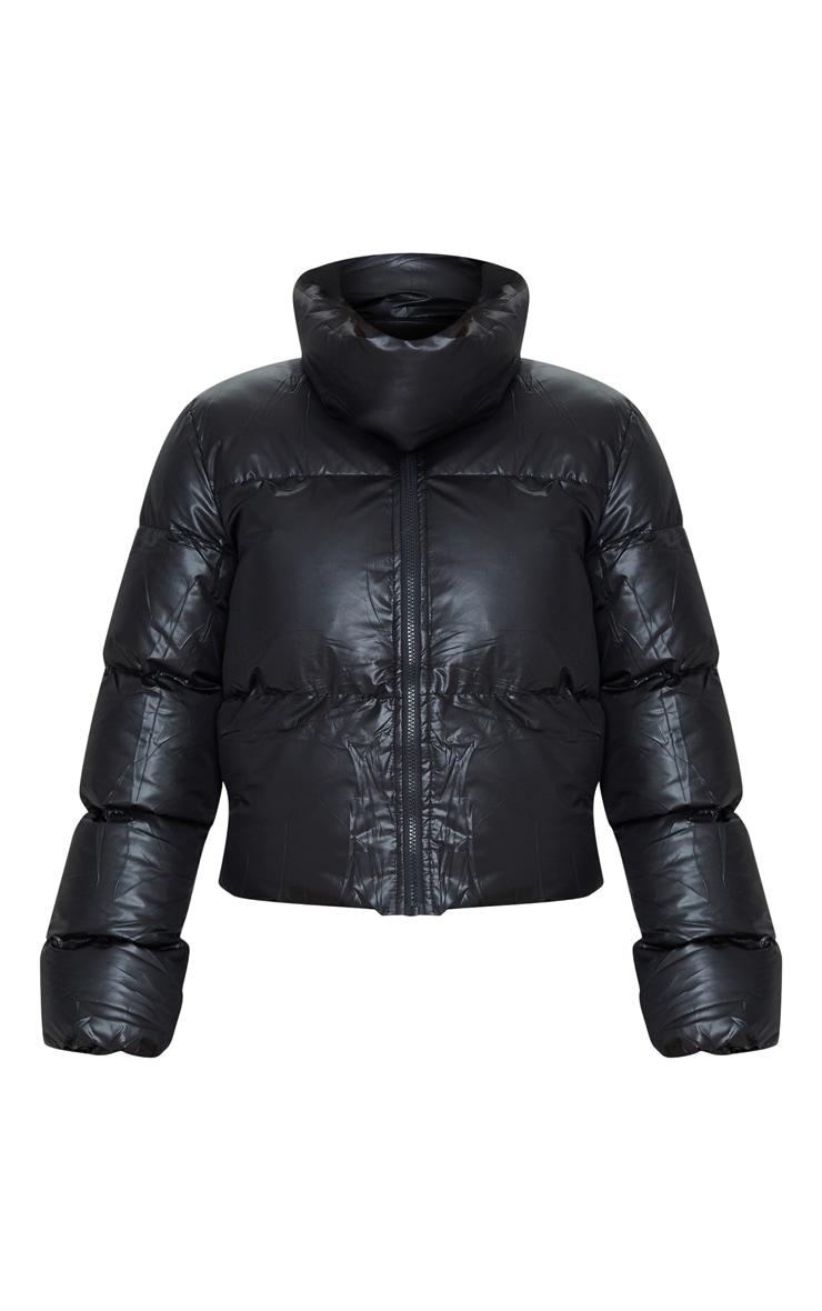 Tall Black Oversized Collar Puffer Coat  3