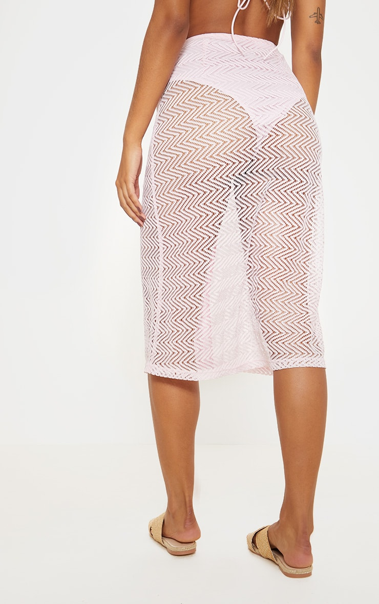 Baby Pink  Crochet Button Front Midi Skirt 4