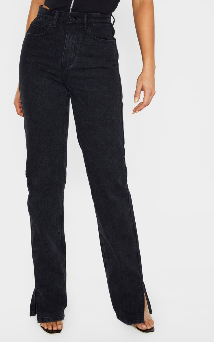 Tall Black Split Hem Jeans 2