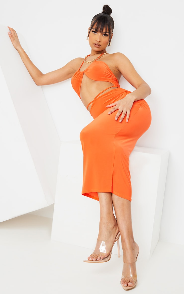 Orange Slinky Halterneck Cut Out Strappy Detail Midaxi Dress 3