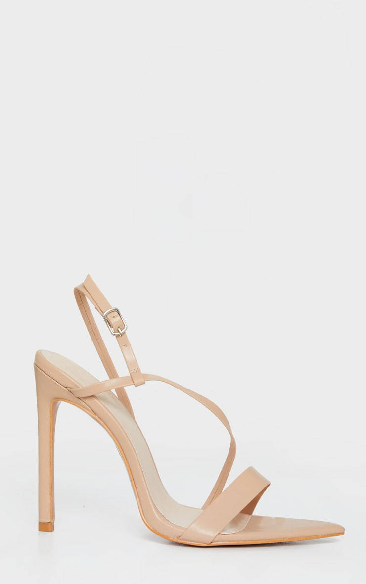 Nude Asymmetric Strap Point Toe Heeled Sandal 4
