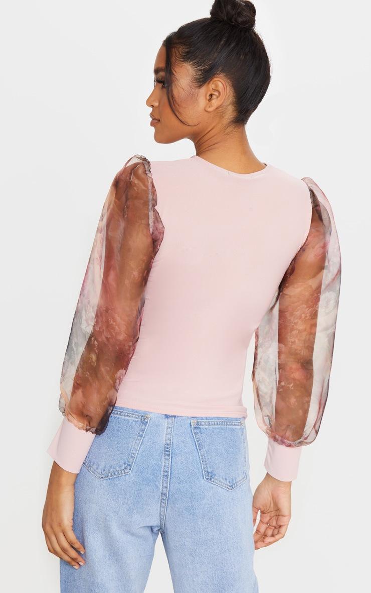 Blush Printed Organza Long Sleeve Top 2