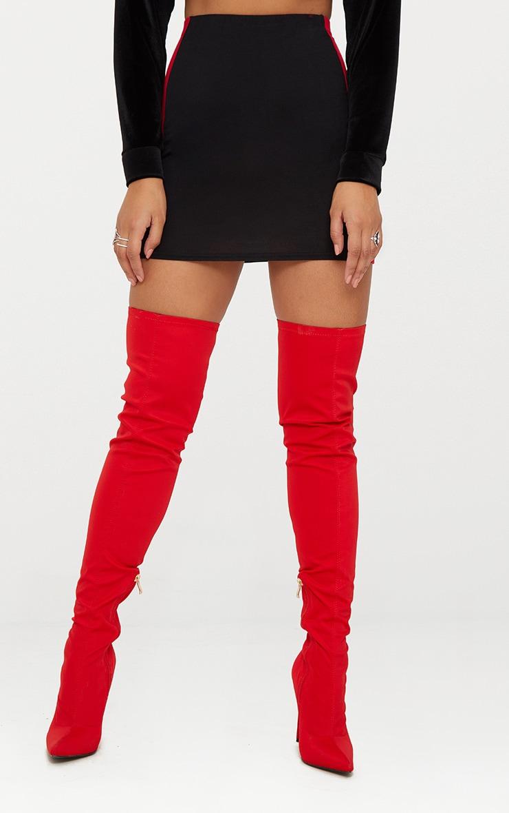 Black Jersey Contrast Panel Mini Skirt 2