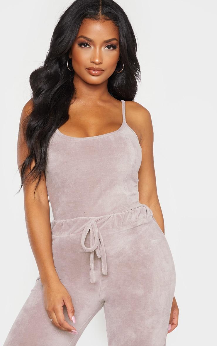 Shape Grey Velour Strappy Bodysuit 1