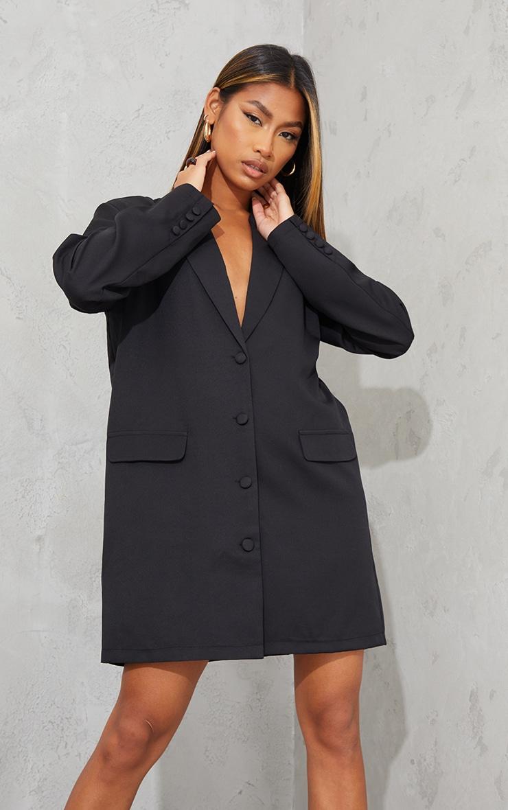 Black Long Sleeve Oversized Shoulder Pad Blazer Dress 3