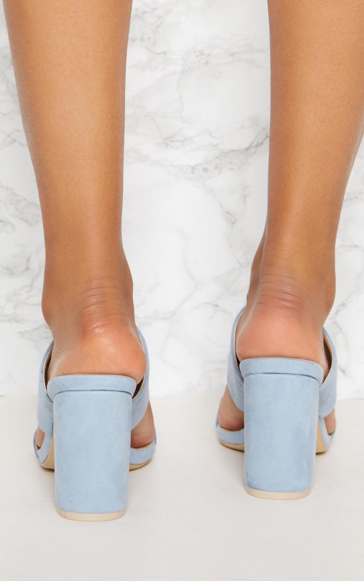 Blue Twin Strap Block Heel Sandal 4