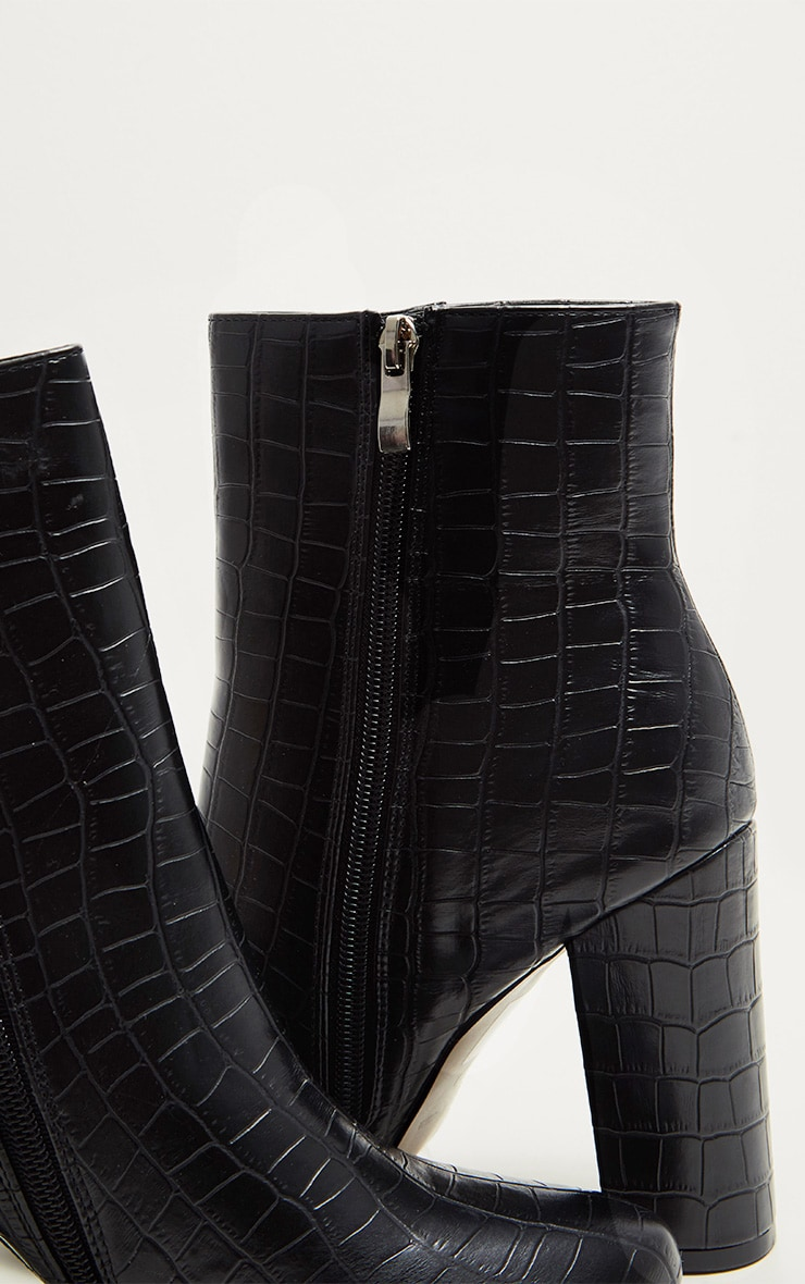 Black Faux Croc Ankle Boot 4