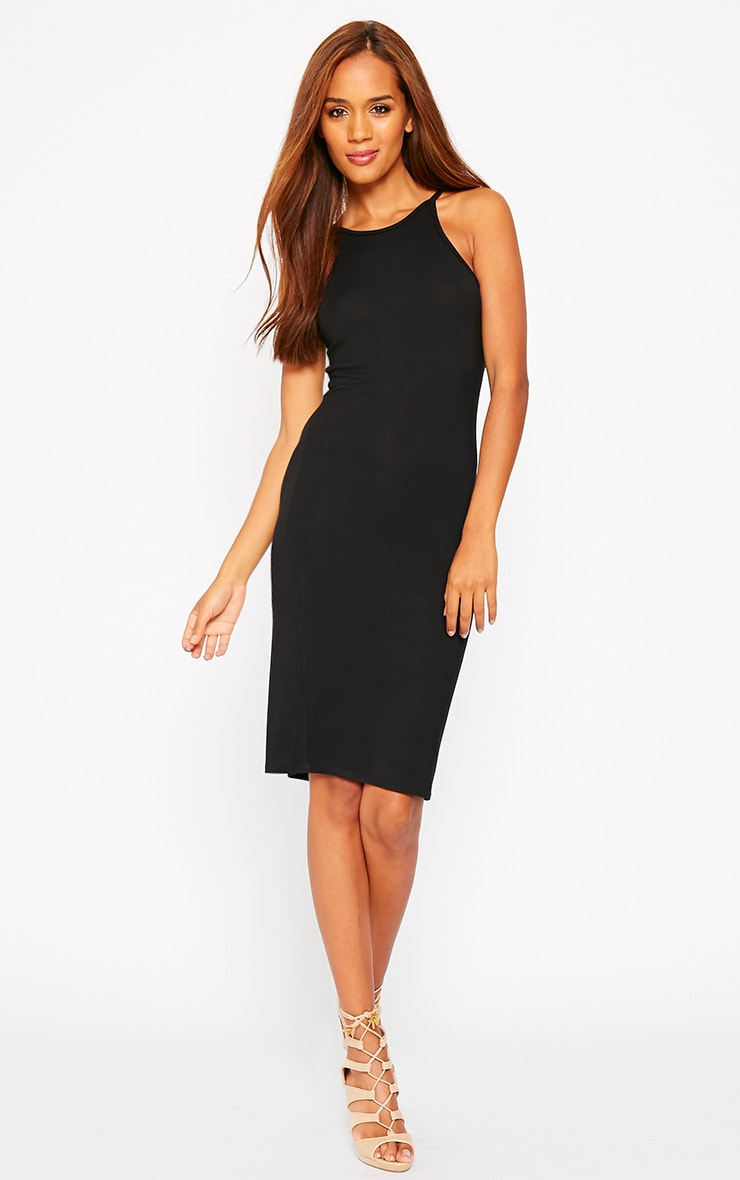 Basic Black Jersey Racer Neck Dress 3