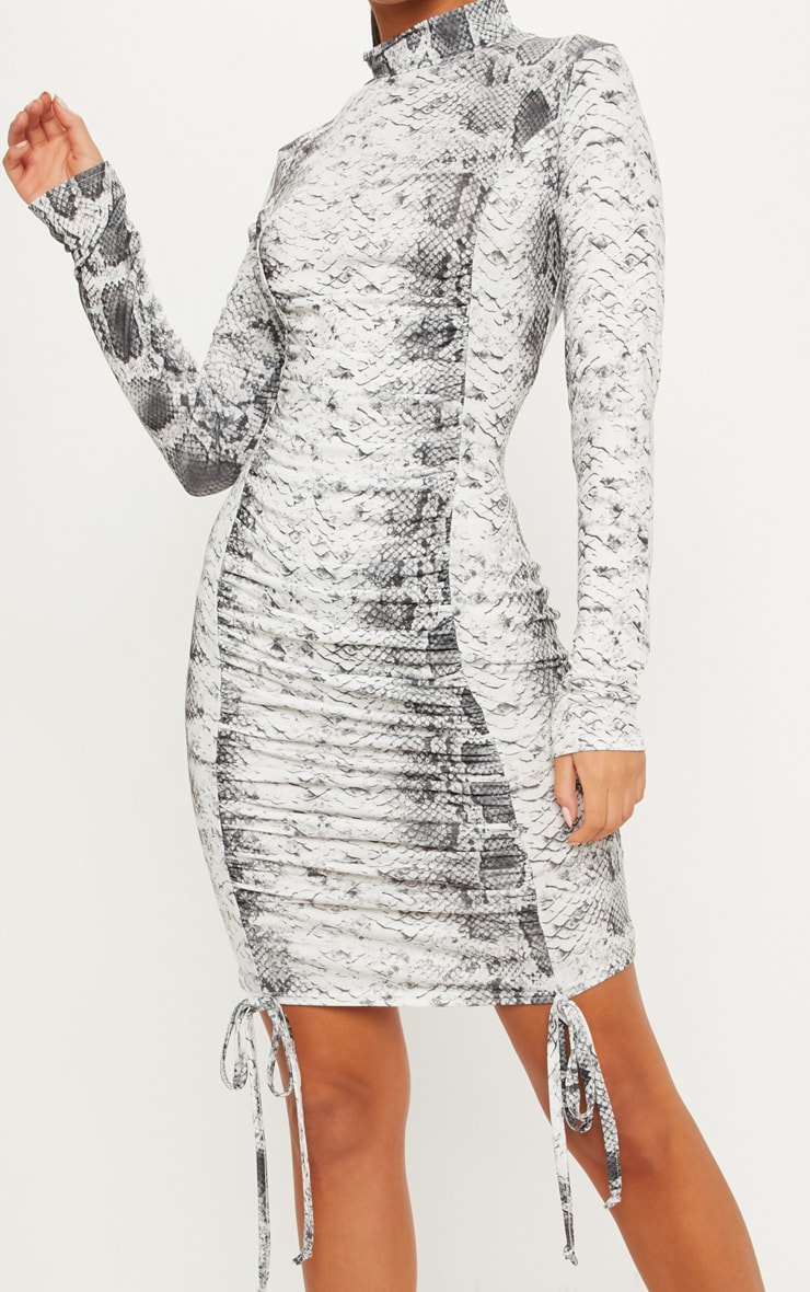 Grey Snake Print High Neck Ruched Front Midi Dress 5