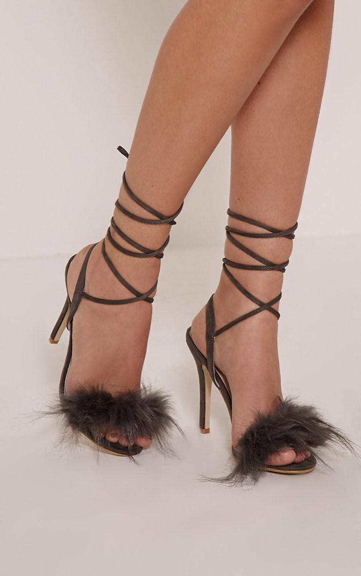 Missie Charcoal Fluffy Tie Sandals 1