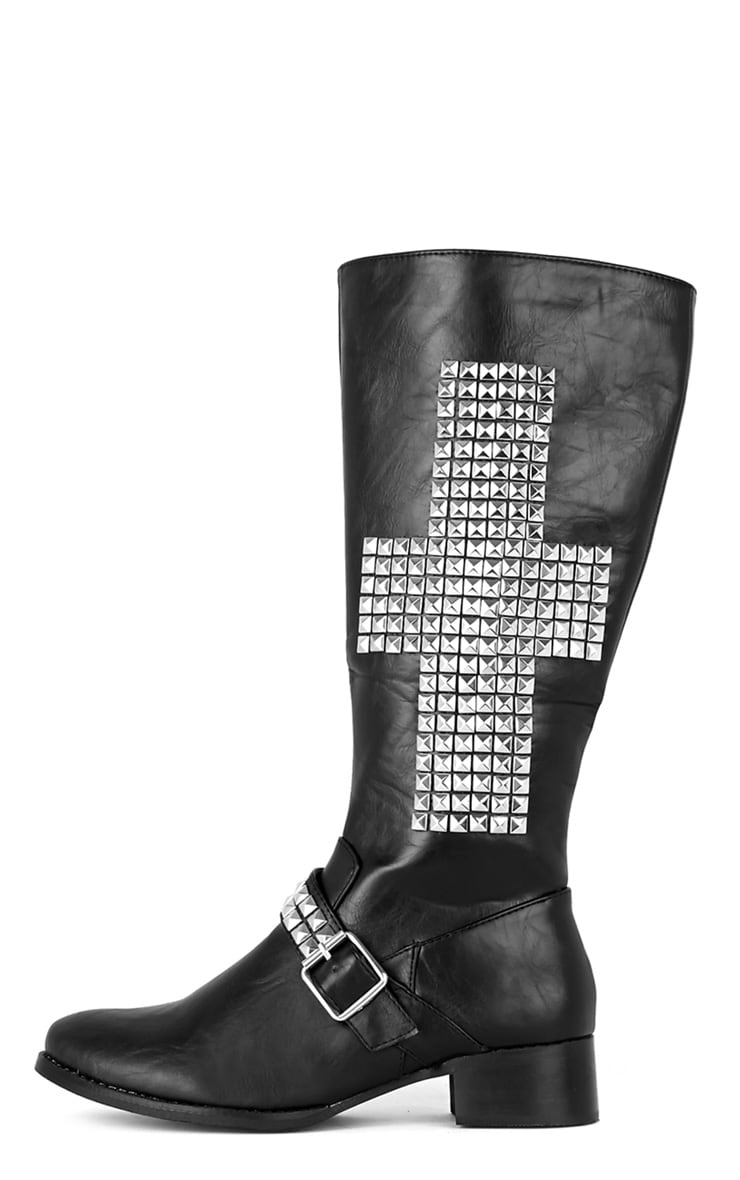 Abi Black Biker Boots With Silver Cross 1