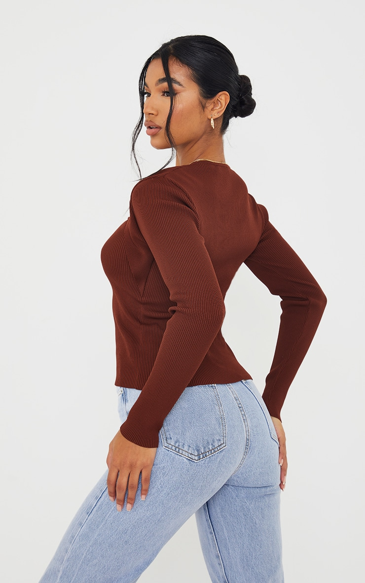 Chocolate Ribbed Knitted Long Sleeve Top 2