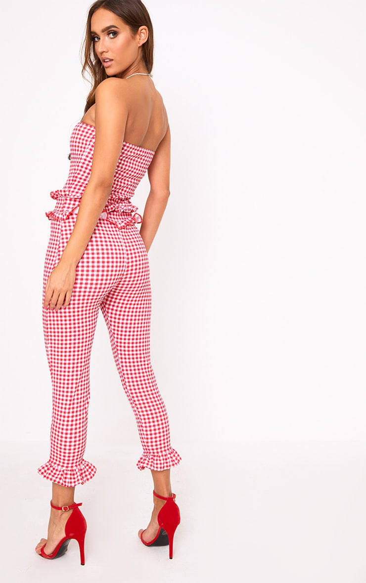 Red Gingham Frill Hem Bandeau Jumpsuit 2
