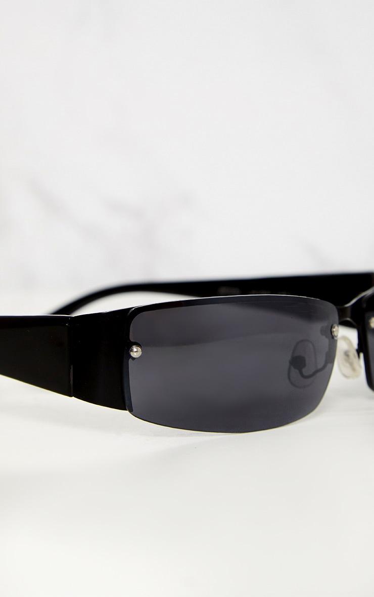 Black Thin Rectangle Retro Sunglasses 6