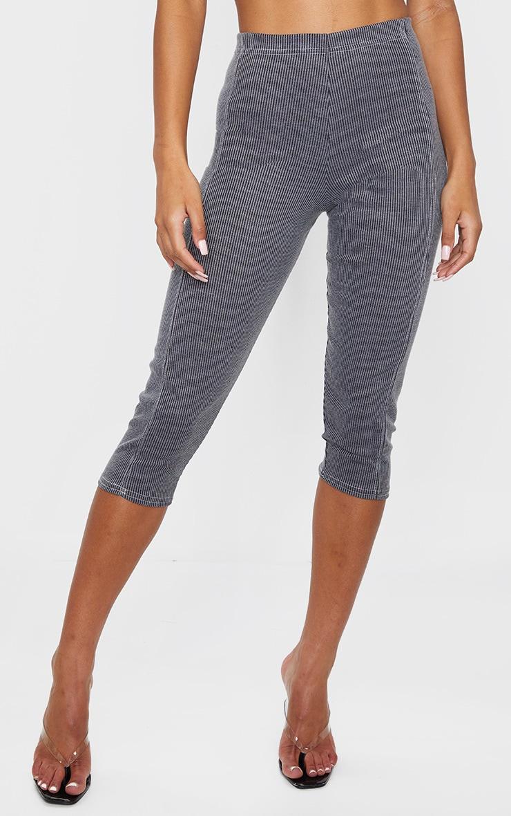 Grey Rib Contrast Stitch Crop Legging 2
