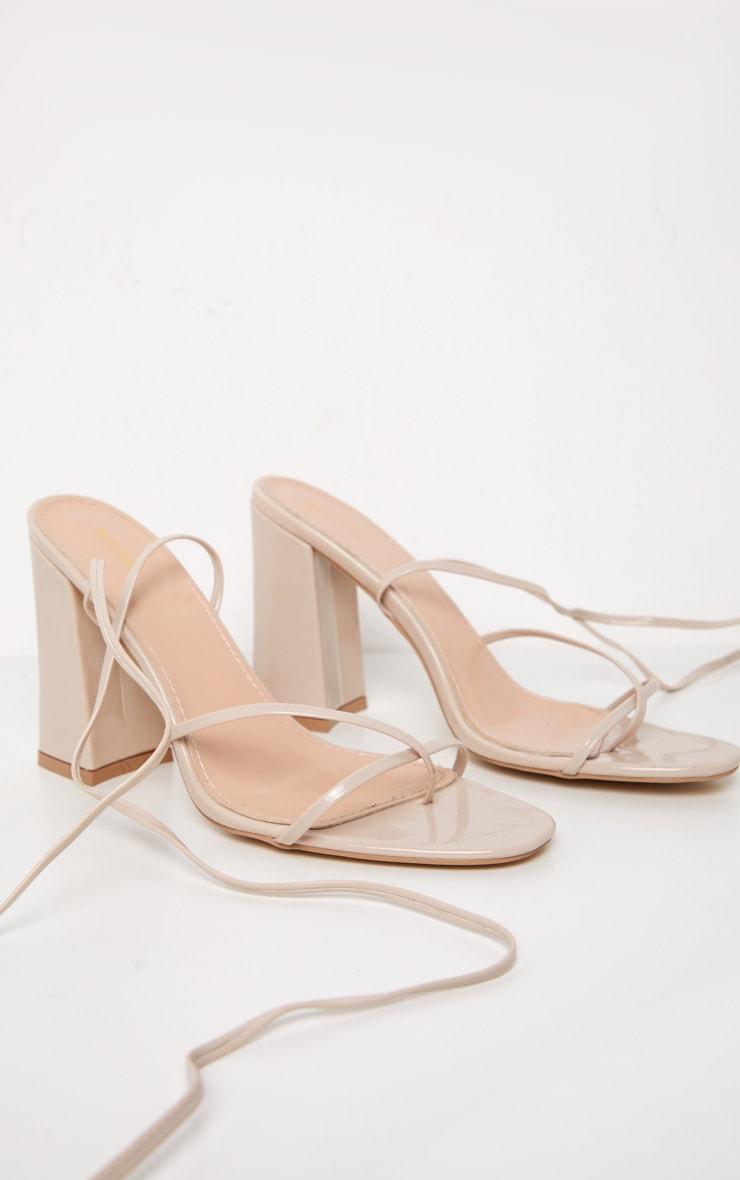 Nude Block Heel Ankle Tie Toe Thong Sandal 3
