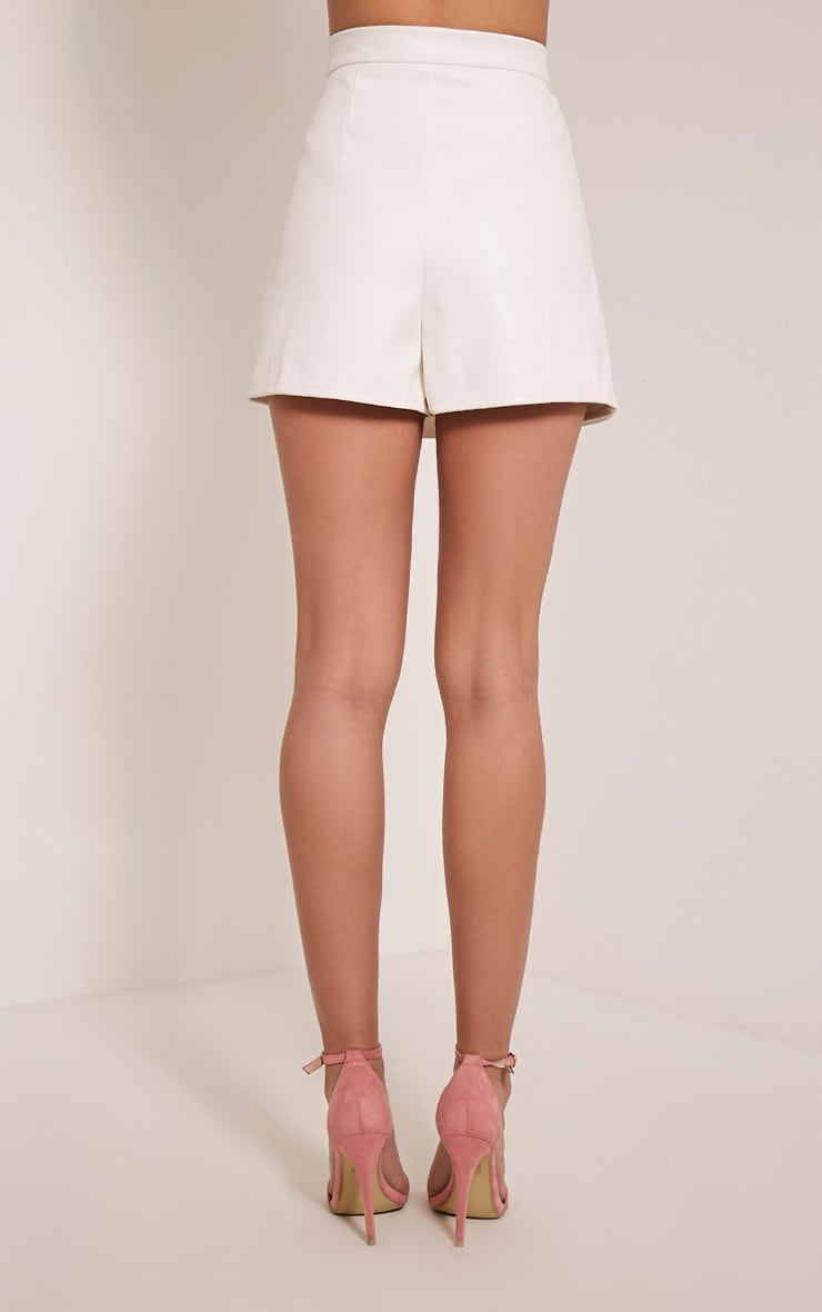 Chlo White Faux Leather Skort 5